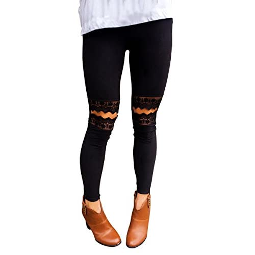 Fashare Womens Black Lace Panel Hole Ripped High Waist Leggings Skinny Workout Yoga Pants for cheap