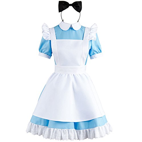 New Alice In Wonderland Costume (Sidnor Cosplay Alice in Wonderland Blue Maid Dress Costume Outfit Suit Apron New Version)