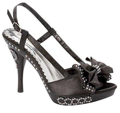 PAMEL High 5 Sandals Black 10 Rhinestone Party Dress Heel Sz Evening v4qnZZ