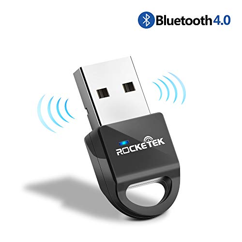Rocketek Bluetooth 4.0 USB Dongle Adapter, Bluetooth Transmitter Receiver Supports Windows 10, 8, 7, Vista XP 32/64 Bit Laptop PC for Bluetooth Speaker, Headset, Keyboard, Mouse and More, Plug and Pla