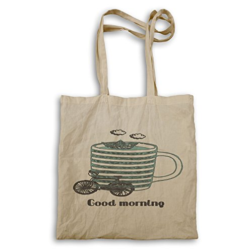 Gute Morgenhand gezeichnete Kaffeetasse Tragetasche u186r