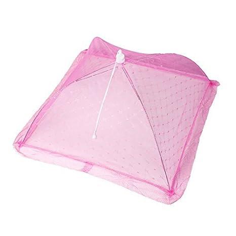 54cm x 54cm plegable que acampa anti-mosquitos paraguas rosa de la cubierta de Alimentos