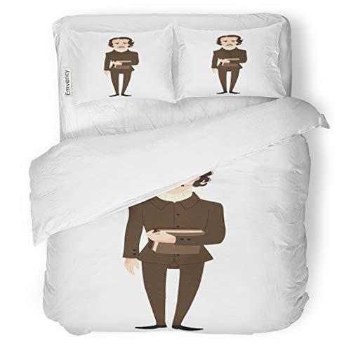 SanChic Duvet Cover Set American Edgar Allan Poe Author Clip Baltimore Dark Decorative Bedding Set with 2 Pillow Cases King -