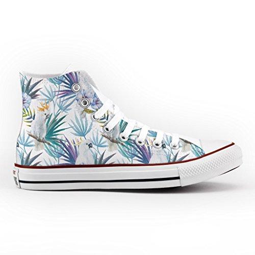 stampa scarpe Alta Personalizzate All artigianali pappagallo Converse Star Ywq4SZxf