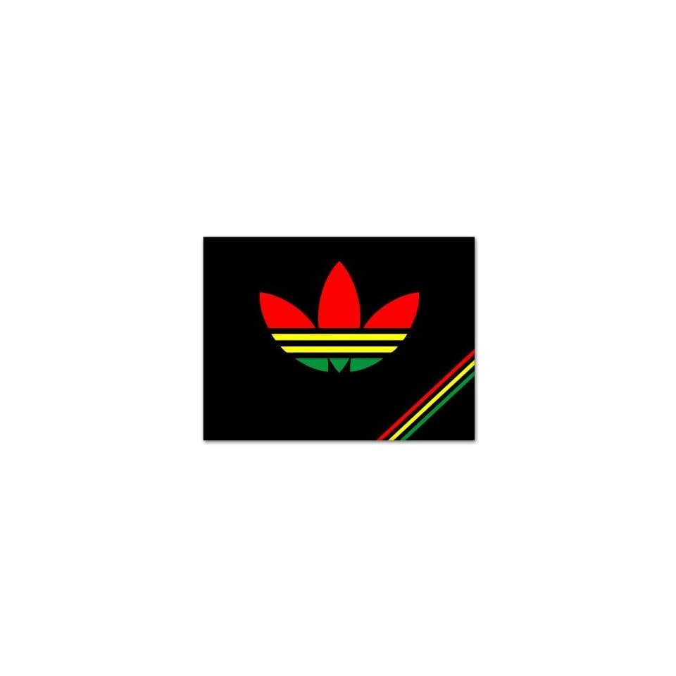 "Rastadidas Adidas Original Rasta Colors Jamaica Car Sticker Decal Large 12"""
