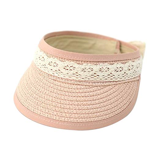 loinhgeo Summer Straw Daily Life Cap Hat Anti-UV Outdoor Topless Beach Children Visor Kids Sunhat Pink