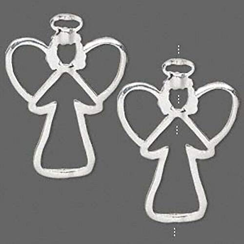 2 Silver Plated Pewter Angel Frame Bead Holders / 34.5X25.5Mm