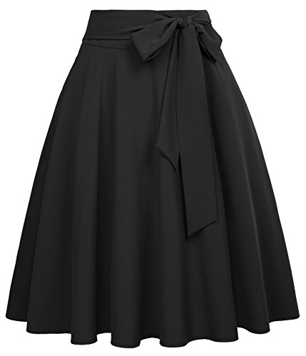 Belle Poque Women's High Waisted A Line Street Skirt Pleated Midi Skirt Black-1 Size S BP561-1