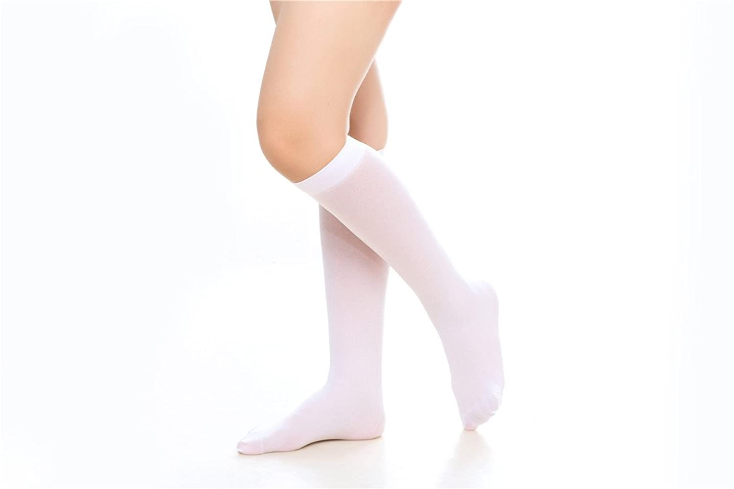 6 Pairs Women's Opaque Spandex Trouser Knee High Socks Queen Size 9-13