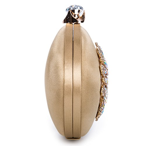 Ellipse Handbag Vintage Kisschic Evening Large Purse Bag Gold Clutch Women's Floral Crystal Rhinestone 6Z0Pq4w
