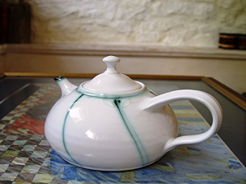 Handmade Stoneware Teapot. Elegant Teapot with Subtle Decoration in Sage Green Color (Sage Green Glazed)