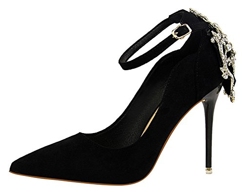 Aisun Womens Fashion Rhinestone Dressy Pointed Toe Low Cut Buckled Stiletto High Heel Pumps Shoes With Ankle Strap Black PDG8PqNJZ