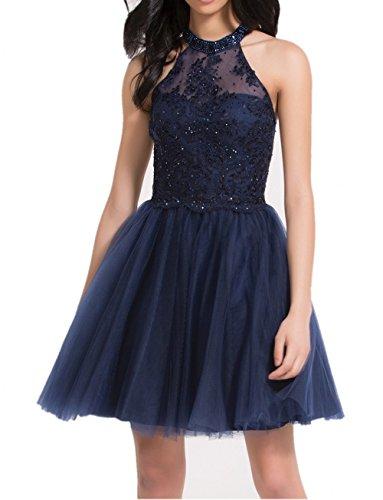 Cocktailkleider Blau Tuell Navy Charmant Festlichkleider Abendkleider Blau Navy Mini Partykleider Spitze Damen Rock 4YqgZZxwA