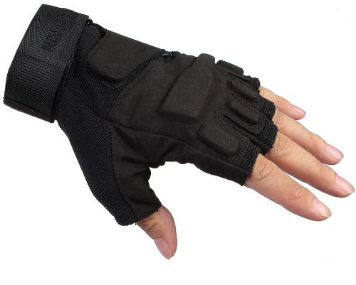 Seibertron Men's Black S.o.l.a.g. Special Ops 1/2 Finger Light Assault Gloves Tactical Fingerless Half Finger Gloves L