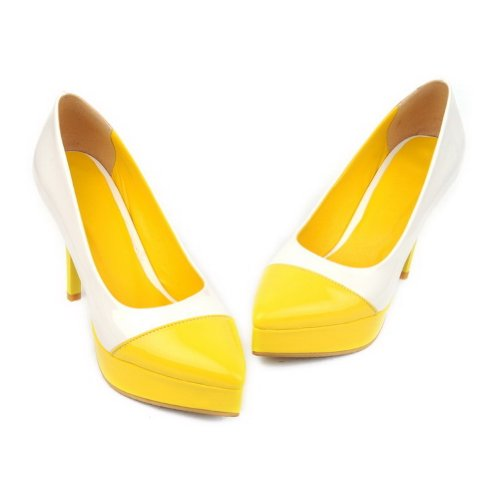 VogueZone009 Womens Closed Pointed Toe High Heels Assorted Colors Pumps with Platform Yellow eL19A