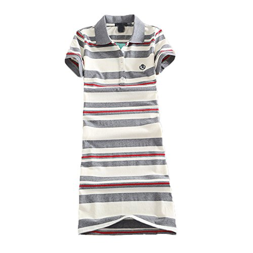 Teeuiear Women Embroidery Polo Striped Print Summer T Shirt Dress Slim Casual Mini Sport Dresses (XXL, Q2029 Gray)