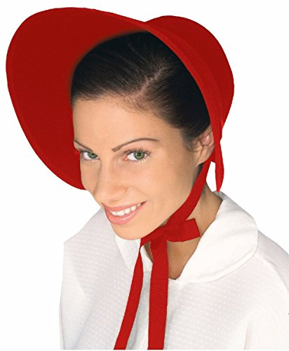 Toucan Hat Costume (Brown Red Felt Colonial Pilgrim Ladies Hat Amish Mennonite Quaker Costume Bonnet)