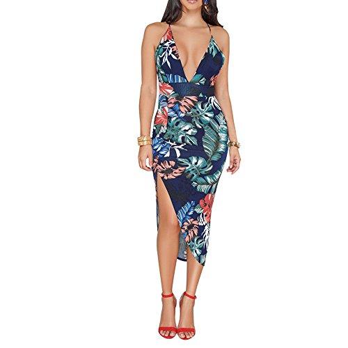 (Sherostore ♡ Women's Sexy Deep V-Neck Spaghetti Backless Slit Mini Party Club Dress Beach Casual Dress Evening Prom Dark Blue)