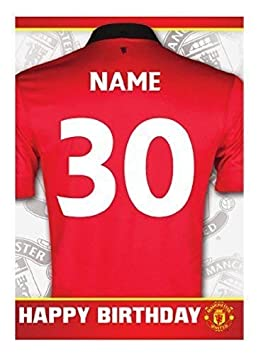 best service 7a3df 172b9 PERSONALISED Manchester United Football Team Birthday Card - Add Name and  Age