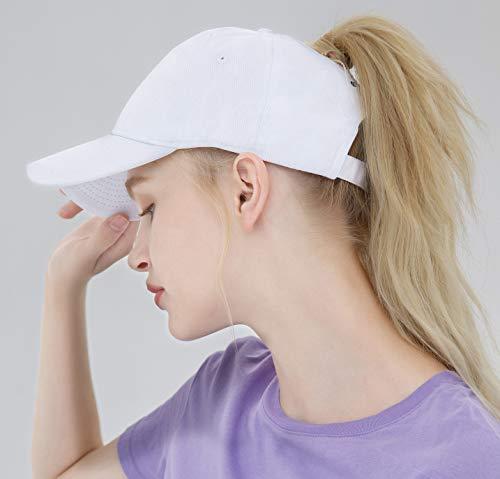 8cbeb6603 ELLEWIN Ponytail Baseball Cap hat with Ponytail Hole Plain Cotton Messy  High Bun Hat White