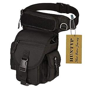 Huntvp Bolsa de Pierna Bolsa Táctical Militar Impermeable para Correr Senderismo Ciclismo Camping Caza, Negro/Verde/Marrón/Camuflaje 2