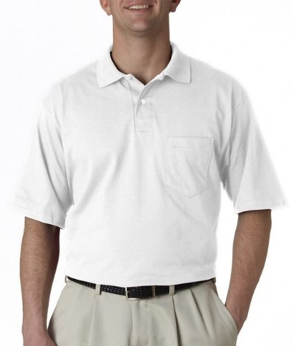 Jerzees mens 5.6 oz. 50/50 Jersey Pocket Polo with SpotShield(436P)-WHITE-S