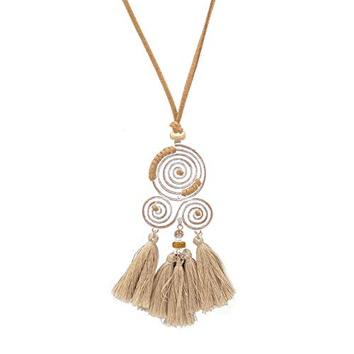 JINGB Sweater Necklace, Bohemian Spiral Tassel Pendant Long Sweater Chain Necklace Party Jewelry Gift - Apricot (Color : ()
