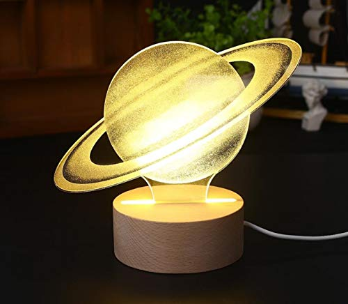 1 Pack 3D Modeling Lamp Glow Saturn LED Night Light Christmas Lights Boys Majestic Fashionable Unicorn Star Bulbs Wall Room Lamps Indoor Outdoor Holiday Decorative