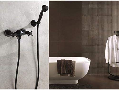 家庭用ホテルブロンズスプレーシャワーシステム壁掛け浴槽の蛇口、蛇口浴槽シャワーヨーロッパスタイルレトロシンプルシャワーセットハンドヘルドシャワー蛇口黒