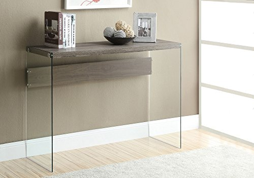 Monarch specialties I 3055, Console Sofa Table, Tempered Glass, Dark Taupe, 44 L