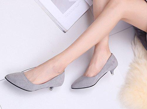 Minetom Mujer Primavera Cómodo Kitten Heel Zapatos Casual Zapatos de Ante Punta Pointed Zapatos de Tacón Gris