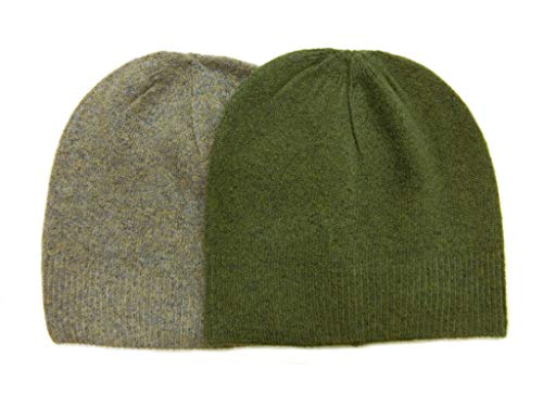 (Meesty Knitted Warm and Soft Wool Mix Skull Cap Beanie Hat for Men and Women (Green/Light Cocoa))