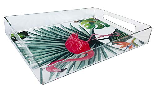 Idea Design Studio Clear Acrylic Animal Print Decorative Serving Tray (Flamingo, Large, 15.75