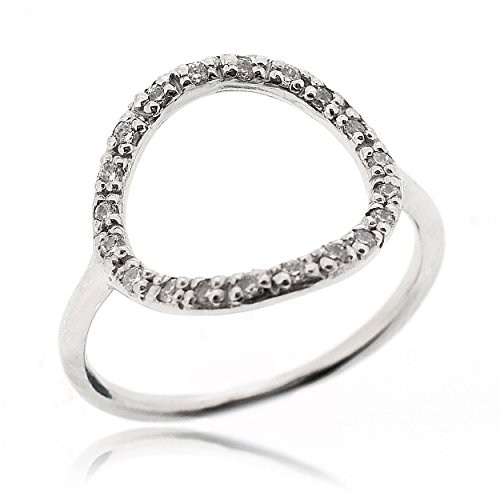 (SOVATS Open Circle Ring For Women Set With White Cubic Zirconia 925 Sterling Silver Rhodium Plated - Simple, Stylish &Trendy Nickel Free Ring, Size 8)