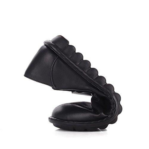 zapatos mujeres y plano de Zapatos Zapatos madre nacional las Medio edad fondo viento cómodos A de suave de BzwBYSfq