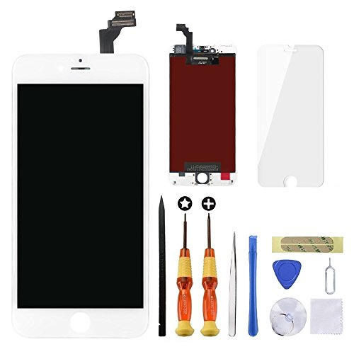 for White iPhone 6 Plus 5.5 inch Screen Replacement Retian LCD Touch Screen Digitizer Fram Assembly Full Set with Tempered Glass Screen Protector + Tools + Instructions by Brinonac (Apple Iphone 6 And 6 Plus Comparison)