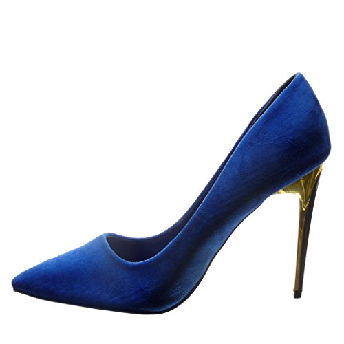 Angkorly - damen Schuhe Pumpe - Stiletto - Sexy - golden Stiletto high heel 10.5 CM - Blau
