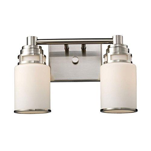 エルク照明11265 – 2 Bryant 2 Light Transitional浴室洗面化粧台照明器具、サテンニッケル、ホワイトガラス、b11885 B00P1Q103E