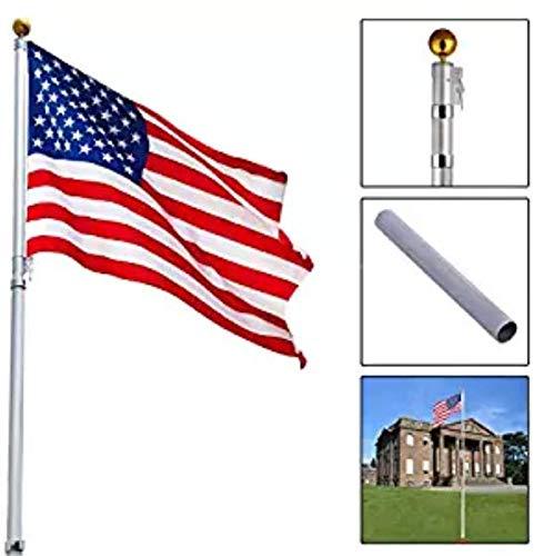 (16Ft Telescoping Flagpole w/ 1 US Gold Ball Aluminum America Flag Kit Outdoor)