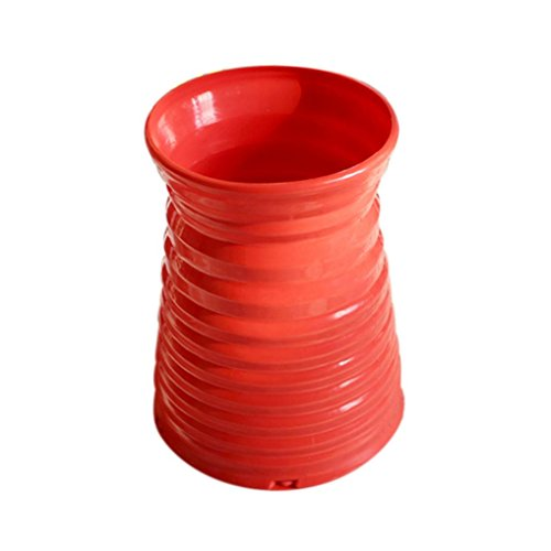 Voberry Nice Plastic Rattan Weaving Vases Basket Flower Arrangement Flower Basket Home Table Decoration (C, Red)