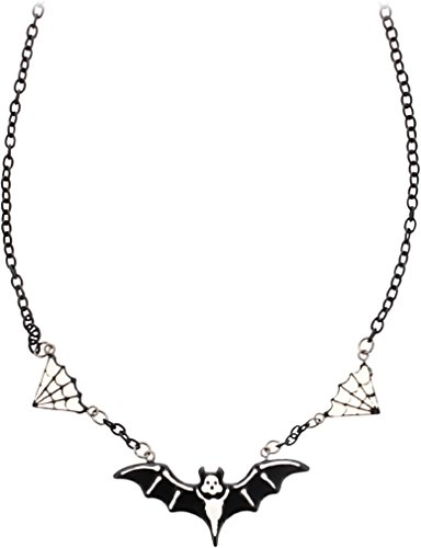 Skeleton Bat and Spider Webs Necklace from Sourpuss -