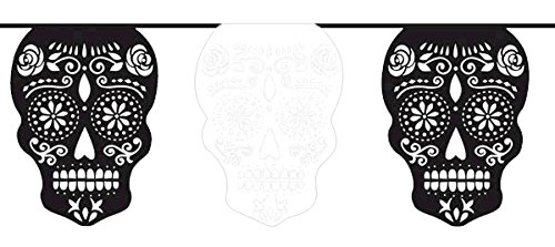 Day Of The Dead Party Decor (Day of the Dead Halloween Party Sugar Skull Flag Banner Decoration, Paper, 12 Feet x 11