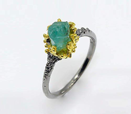 Paraiba apatite ring Raw blue stone ring Two Tone Ring Ocean Coral Ring Birthday gifts for mom gifts for sister rough ring black ring Mother