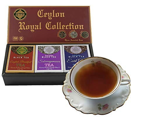 - Mlesna Pure Ceylon Fine Black Loose Tea Royal Collection Luxury Gift Pack- 3 Assorted Tea English Breakfast, Ceylon Earl Gray and Sabaragamuwa Black Tea Orange Pekoe Gift Box