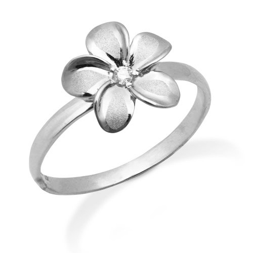 Plumeria Ring with Diamond in 14K White Gold-11mm (10) (Gold Plumeria Ring)