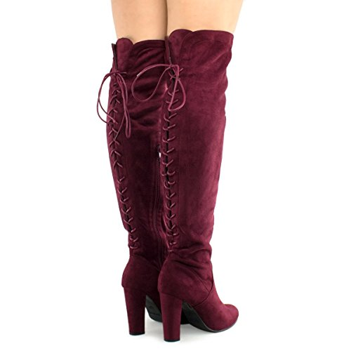 Premier Standard Damen Oberschenkel Hohe Stretch Boot - Trendy High Heel Schuh - Sexy Overknee Pullon Boot - Bequeme Easy Heel Premier Wein