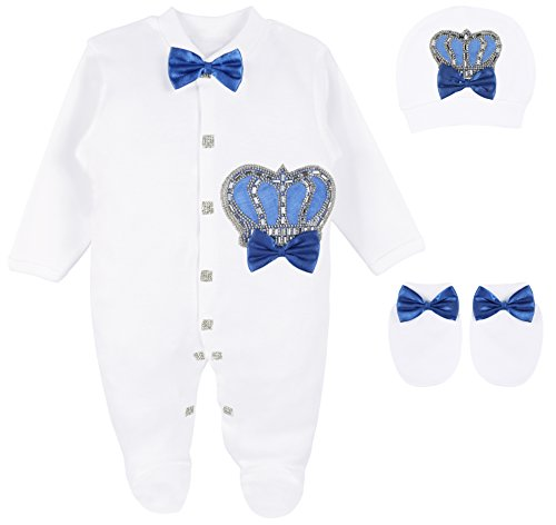 Lilax Baby Boy Newborn Crown Jewels Layette 3 Piece Gift Set 0-3 Months Royal Blue