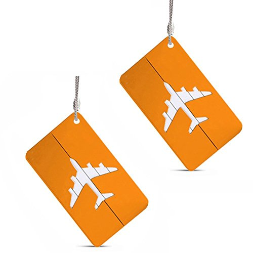 Set of 2 Luggage Tags Labels, Aluminum Metal Airplane Travel Suitcase Bag Baggage ID Name Address Tag Label with Screw Chain, Gold