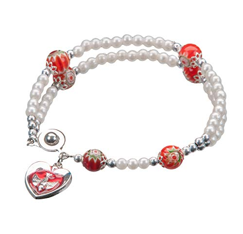 Hail Mary Gifts 1pc, Pearlized Bead Rosary Bracelet with Murano Glass Our Father Beads (Rosary Bracelet Murano)