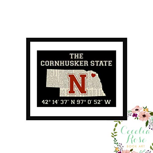 Cornhuskers Nebraska Framed (Nebraska Cornhuskers Huskers State Memorial Stadium Coordinates Longitude Latitude Farmhouse Literary Typography Vintage Book Page Word Art Quote Print-Wall Art-Gift 6x8 FRAMED Print)